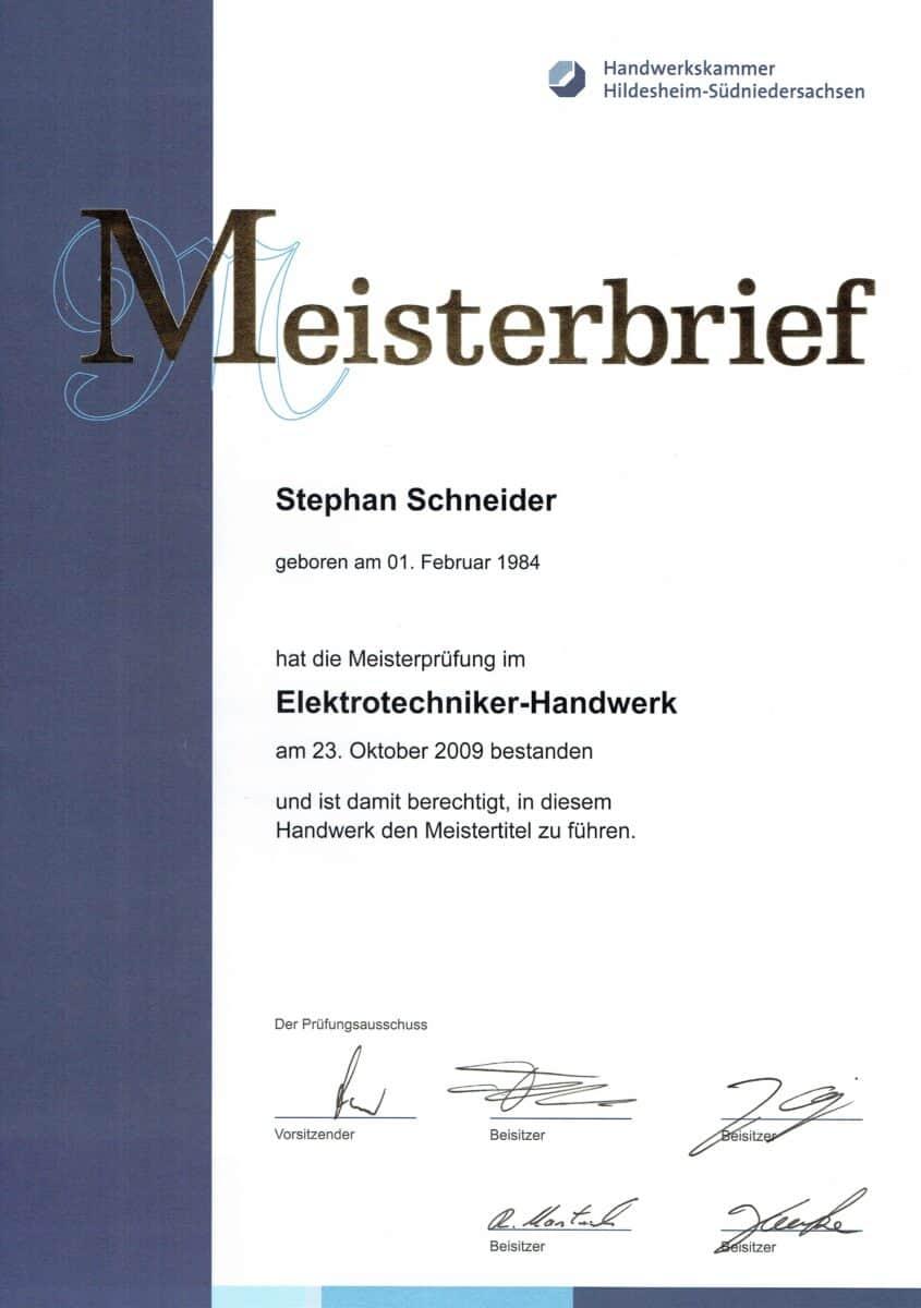 Elektrotechnik Schneider Meisterbrief
